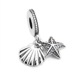 Wholesale mint bracelets - 2017 Summer New Tropical Starfish & Sea Shell 925 Sterling Silver Jewelry Frosty Mint Clear CZ Bead Fit Charm Bracelets Jewelry Making HB754
