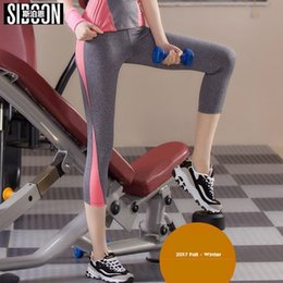 Wholesale Three Tight Pants Girls - SIBOON Summer Yoga Pants Women's Clothes Fitness Sports Trousers Gym Leggings Running Sport Tights Girl Fitness Yoga Running Pants 16239