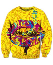 Wholesale Light Up Clothes - Wholesale-Trippy Lips Sweatshirt awesome comfy sweats light up some kush 3d Print Fashion Clothing Sport Jumper Outfits Hoodies Plus Size