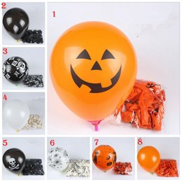 Wholesale Halloween Pumpkin Balloon - 12 Inch Halloween Evening Party Balloons Black Orange Pumpkin Skull Spider Latex Balloons Party Decor Halloween Decorations 20 Pack YYA322