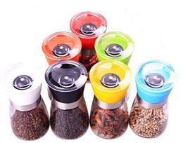 Wholesale Season Shakers - glass Pepper mill cruet Creative kitchen tool Colorful seasoning bottle 7 style with white box package wedding decoration