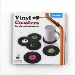 Wholesale Home Decor Coffee - 6 Pcs set Home Table Silicone Cup Mat Creative Decor Coffee Drink Placemat Spinning Retro Vinyl CD Record Drinks Coasters with box