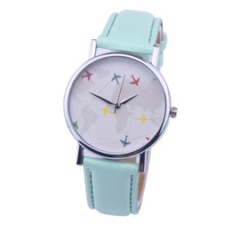 Wholesale Glass Airplane - 2016 Watch New Style Fashion Casual Watch Leather Quartz Watch Women Wristwatch Airplane Pattern 5 Colors
