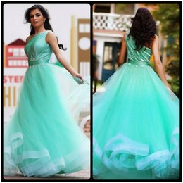 Wholesale Aqua Dress Beaded Shoulders - Said Mhamad One Shoulder Aqua Prom Dresses Beaded A Line Formal Evening Dress Party Gowns 2017