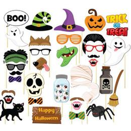 Teufelsgläser online-Halloween Photo Booth Requisiten Masken Schnurrbart Schädel Vampir Geisterschläger Kürbis Brille Hexenzauberer Hüte Teufel