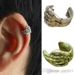 Wholesale Silver Skull Earrings Women - 1pc New Skeleton Skull Hand Ear Cuff Wrap Cartilage Earrings Clip Men Women On Silver Gold Hot Sale 00T6