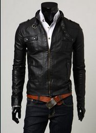 Wholesale Stand Up Collar Spring Jacket - Men in the spring and autumn clothing design fitted jacket motorcycle leather clothing men's stand-up collar outerwear   M-XXL