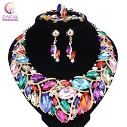 Wholesale Green Plant Costumes - Women Bridal Jewelry Sets Wedding Crystal Necklace Earring Bracelet Ring For Brides Party Prom Costume Accessories Decoration