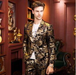 Wholesale designers blazers suit - Senior designer gold print suit 2016 high quality fashion golden coat Brand wedding suit Cultivate one's morality men's autumn winter jacket