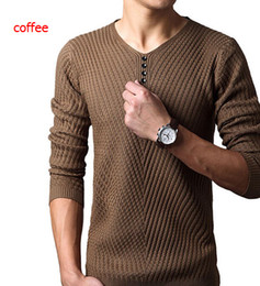 Wholesale Ribbed Dress - 5 colors 2016 Autumn Winter Brand Casual V-Neck Sweater mens Cashmere Wool Slim Pullover christmas sweater men Dress Knitted Sweater