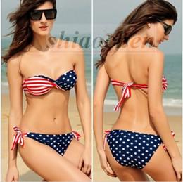 Wholesale Twist Bandeau Top Bikinis - Women USA Flag Bikini Twisted Stars Bikinis Stripes Swimwear Bandeau Swimsuit Sexy Bath Suit tassel Beachwear Bra Briefs Top Bottom A648 300