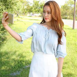 Wholesale Korean Sexy Shorts - harajuku shirt women 2017 korean ulzzang blusas spring summer straps strapless cute retro sexy best friends t-shirt women tops