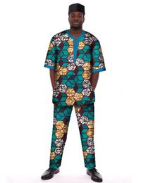 Wholesale Wax Clothes - Wholesale-Hot Sale Customized Men Africa Style Top & Trousers Set Africa Clothing Wax Short Sleeve T shirt + Pants WYN102