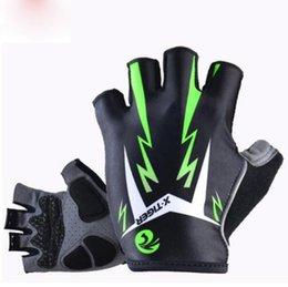 Wholesale Mtb Gel Gloves - 3D GEL Pad Bright Green Sport Gloves With Reflective Half Finger MTB Bike Glove Cycling Gloves Mountain Bicycle Gloves