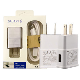 Wholesale Galaxy S4 Chargers - For Samsung Adaptive Wall Charger with Micro USB Cable Home Travel Adapter US EU 5V 2A 1A Kits 2 in 1 New Package For Galaxy S4 S5 S6 S7 S8