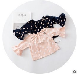 Wholesale Baby High Neck Tops - Baby girls T-shirt Infant cute polka dots princess tops toddler kids falbala long sleeve blouses high quality baby autumn clothing T0234