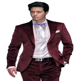Wholesale Tuxedo Wine - Wholesale- New Arrival Custom Mmade Groom Tuxedos Wine Red Men's Suit Notch Lapel Groomsmen Mens Wedding Suits Prom Suits(Jacket+Pants+Tie)