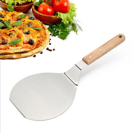 Wholesale Stainless Cake Spatula - Christmas supplies Wood Handle Stainless Steel Cake Lifter Pizza Server Cookie Spatula Big Pizza Shovel DHL