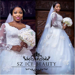 Wholesale Long Shirts For Women Simple - Plus Size Lace Nigeria Lebanon Wedding Dresses Sheer Illusion Bodice Long Sleeves Appliques White A Line 2017 Bridal Dress For Women