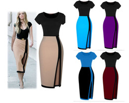 Wholesale One Piece Ladies Clothes - Office Lady Style Dresses Skirt Short Sleeve 2016 Summer Clothing One Piece Dress Pencil Skirt Professional Women Clothes Color Patchwork