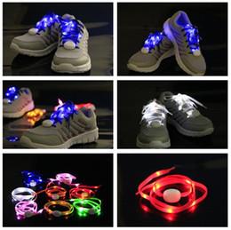 Wholesale Led Shoestrings - Multi-Color 7th Gen LED Shoelace LED Light Nylon Flat Luminous Glowing Flash Flashing Shoelaces Shoe laces Lace Shoelace Shoestring