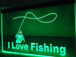 Wholesale Green Led Fishing - LB740- I Love Fishing Fish Sport Bar LED Neon Light Sign