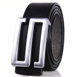 Wholesale Leather Items For Girls - New Item Imported Italian Cow Leather Belt for Men Classic Genuine Leather Strap S Letter Silver Buckle Men Belts free shipping