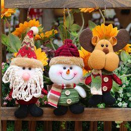 Wholesale Christmas Decoration Santa Claus Dolls - 3 Style Santa Claus Deer Snowman Doll Navidad Ornaments Christmas Tree Ornaments Xmas Happy New Year Christmas Decoration CCA7780 100pcs