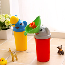 Wholesale Toilet Trainer For Kids - New style cute Kids Outdoor Trips Car Travel Pee Portable cartoon urine barrel car pee trainer 2 styles Toddlers portable toilet for boys an