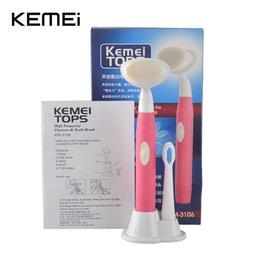 Wholesale Electric Brush For Face - High frequency KEMEI KM-3106 Special waterproof rotary rotating electric toothbrush and electric face brush 2 in 1 for adults