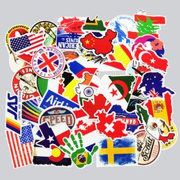 Wholesale Sticker Flag Decal - 50 Pcs National Flags & Map Airline Logo Travel Luggage Stickers For Skateboard Laptop Toy DIY Sticker Car Bike Waterproof Decal
