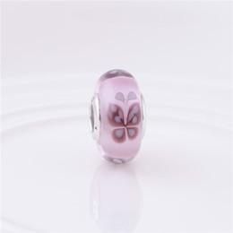 Wholesale Pandora Kiss - Murano beads charms fits pandora style bracelet pink butterfly kisses 791621 H8