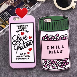 2016 Luxury Love Potion Chill Pills botella del teléfono para iPhone 5 5s 5se 6 6S 4.7