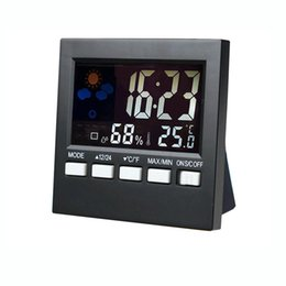 Wholesale Digital Thermometer Hygrometer Clock - New Style Thermometer Digital Weather Station Household Thermograph Alarm Clock Multi-function Indoor Thermometer Hygrometer Hot Sales HTC-1
