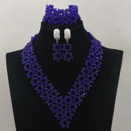 Wholesale Light Blue Crystal Wedding Jewelry - 2016 hot!! royal blue 18k necklace pendant earring set Statement Bridesmaids heart crystal sets mix Fashion hip wedding jewelry for gift G01