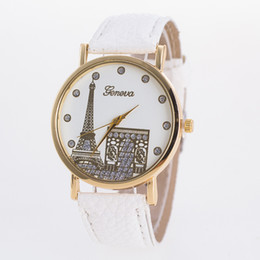 Wholesale Watch Paris - 50pcs Geneva imitation leather watch Popular contracted Geneva, Geneva watch fashion watch of wrist of Paris Eiffel Tower