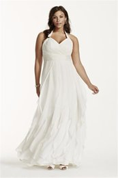 Wholesale Wedding Forms - Halter Ruffled Chiffon Plus Size Wedding Dress 9PK3218 Ruched Halter Bodice Form-fitting And Flattering Bridal Gown