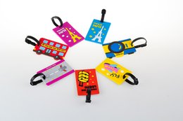 Wholesale Soft Rubber Luggage Tags - 8 Colors Cartoon Travel Luggage Tags Soft PVC Suitcase Baggage Name Address ID Checked Holder Tag Wholesale