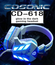 Wholesale Headset Gaming Wireless - Hot Sale Cosonic CD-618 3.5mm Gaming Headphones Hifi Stereo Headset with Microphone the USB for Breathing Led Light for PC Gamer