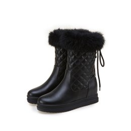 Wholesale winter boots korean - Ankle boots round toes flat heel 3.0cm new Korean version of the comfortable Sweet printing Rabbit hair