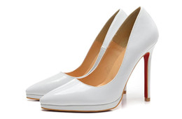 Wholesale White Wedding Wedges - White Patent Leather Pointed Red Bottom High Heels Women Shoes 12cm High Heel Ladies Female Shoes Low Footwear Pumps Wedding Shoes Sexy
