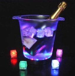 Wholesale Crystal Home Button - Multi color Led flashing ICE CUBE with 8 modes switch control Push Button Battery Replaceable Crystal Cube For Valentine's Day Party Wedding