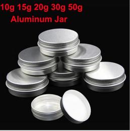 Wholesale Wholesale Metal Tin Containers - 50pcs lot 5g 10g 15g 20g 30g 50g Aluminum Cream Jar Pot Nail Art Makeup Lip Gloss Empty Cosmetic Metal Tin Containers