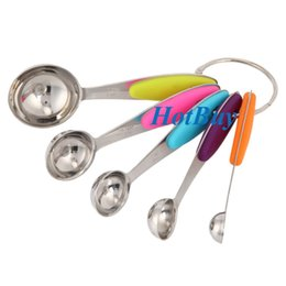 Wholesale Measuring Tools For Baking - 5PCS Colorful Kitchen Measuring Spoons Metal Stainless Steel Measuring Cups Spoon Measuring Set Tools for Baking Coffee #3990