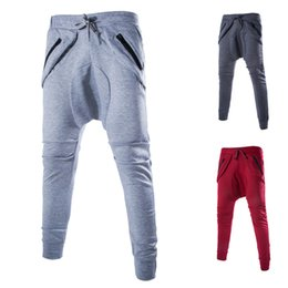 Wholesale Lace Pants Men - Solid Color Men Pants Trousers Brand Red Jogger Fashion Casual Zipper Pocket Men Pants for Men with Lace Up