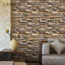 Wholesale Self Adhesive Wallpaper Bricks - 60Cm *10M Self Adhesive Wallpaper Pvc Waterproof Stone Wallpapers Brick Wall Paper Decorative Wall Stickers Bedroom Home Decor