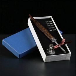 paralelos de escritorio Rebajas Honorable y agraciado antiguo Pluma de pluma pluma de la pluma de la inmersión conjunto de tinta Papelería caja de regalo Pluma estilográfica de calidad superior para autógrafo