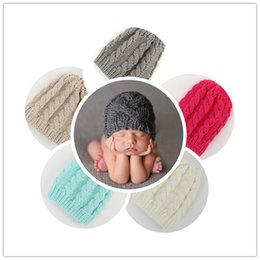 Wholesale Infant Cotton Knit Caps - Newborn Knit Beanie Hats Baby Boy Girls Wool Crochet Caps Toddler Kid Cotton Wraps Infant Unisex Hair Accessories Photography Bonnet