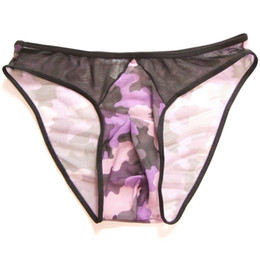 Wholesale Temptation Male - Men's sexy little briefs pants transparent veil temptation low waist pocket T pants thong camouflage male underwear