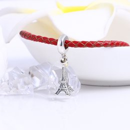 Wholesale Eiffel Tower Charms - Real 925 Sterling Silver Eiffel Tower Dangle Charm Fit Original Bracelet Diy Jewelry Making